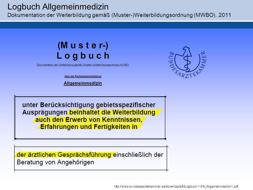 Logbuch Allgemeinmedizin Dokumentation der Weiterbildung gemäß (Muster-)Weiterbildungsordnung (MWBO).