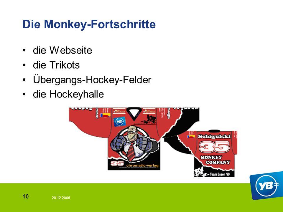 20.12.2006 10 Die Monkey-Fortschritte die Webseite die Trikots Übergangs-Hockey-Felder die Hockeyhalle