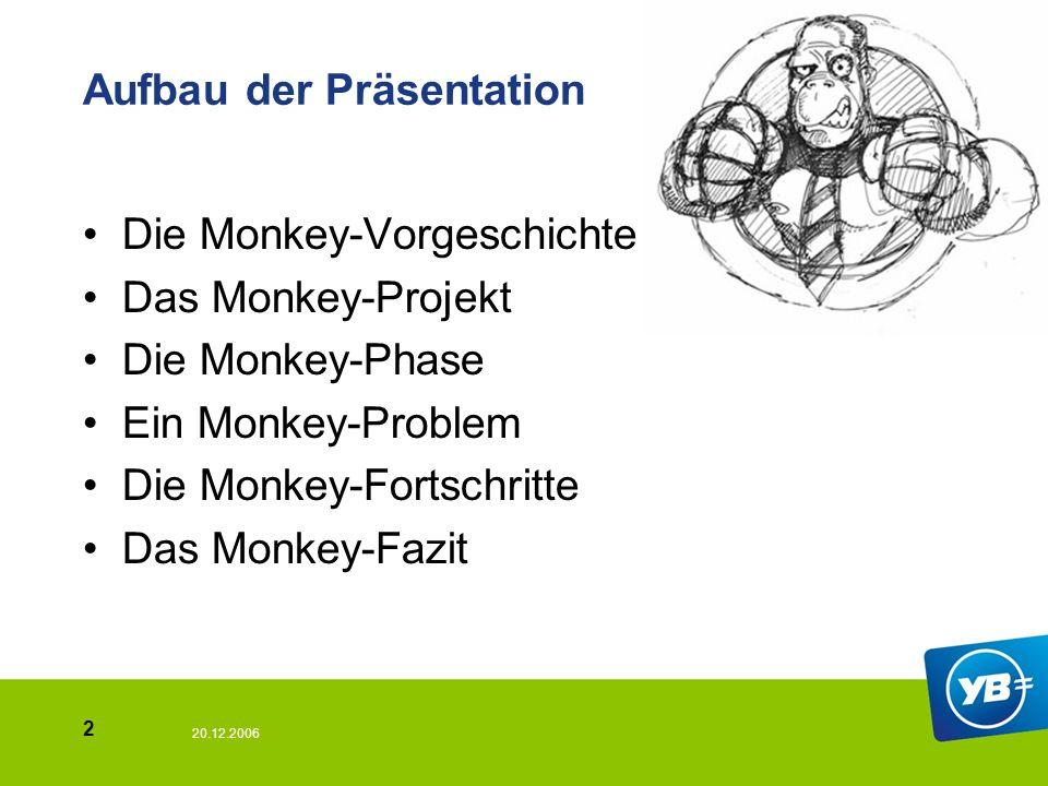 20.12.2006 2 Aufbau der Präsentation Die Monkey-Vorgeschichte Das Monkey-Projekt Die Monkey-Phase Ein Monkey-Problem Die Monkey-Fortschritte Das Monkey-Fazit