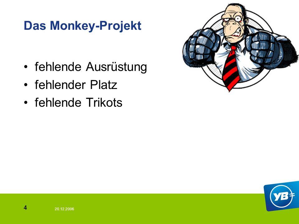 20.12.2006 4 Das Monkey-Projekt fehlende Ausrüstung fehlender Platz fehlende Trikots