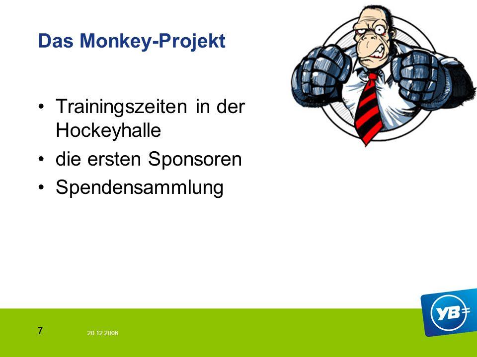 20.12.2006 7 Das Monkey-Projekt Trainingszeiten in der Hockeyhalle die ersten Sponsoren Spendensammlung