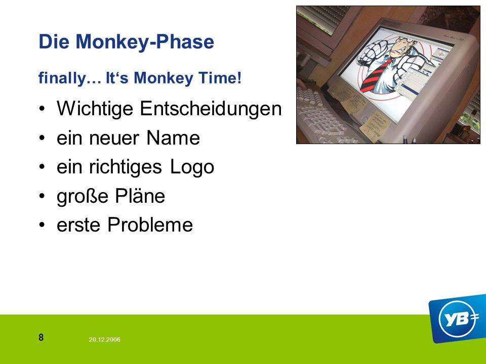 20.12.2006 8 Die Monkey-Phase finally… Its Monkey Time! Wichtige Entscheidungen ein neuer Name ein richtiges Logo große Pläne erste Probleme