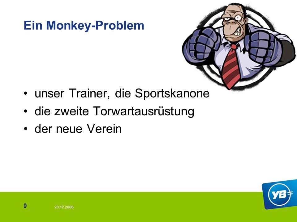 20.12.2006 9 Ein Monkey-Problem unser Trainer, die Sportskanone die zweite Torwartausrüstung der neue Verein