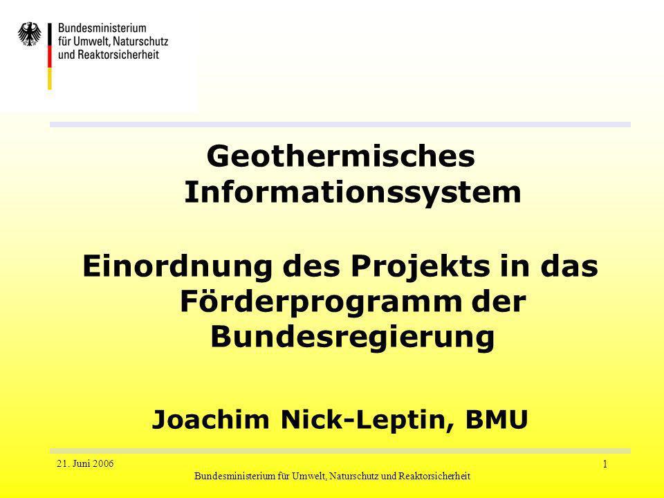 21. Juni 2006 Bundesministerium für Umwelt, Naturschutz und Reaktorsicherheit 1 Geothermisches Informationssystem Einordnung des Projekts in das Förde