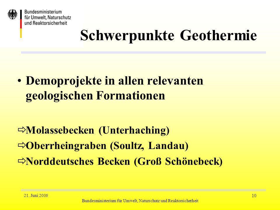 21. Juni 2006 Bundesministerium für Umwelt, Naturschutz und Reaktorsicherheit 10 Schwerpunkte Geothermie Demoprojekte in allen relevanten geologischen