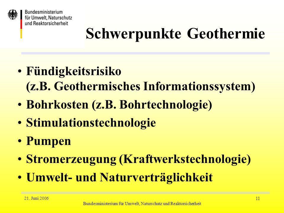 21. Juni 2006 Bundesministerium für Umwelt, Naturschutz und Reaktorsicherheit 11 Schwerpunkte Geothermie Fündigkeitsrisiko (z.B. Geothermisches Inform