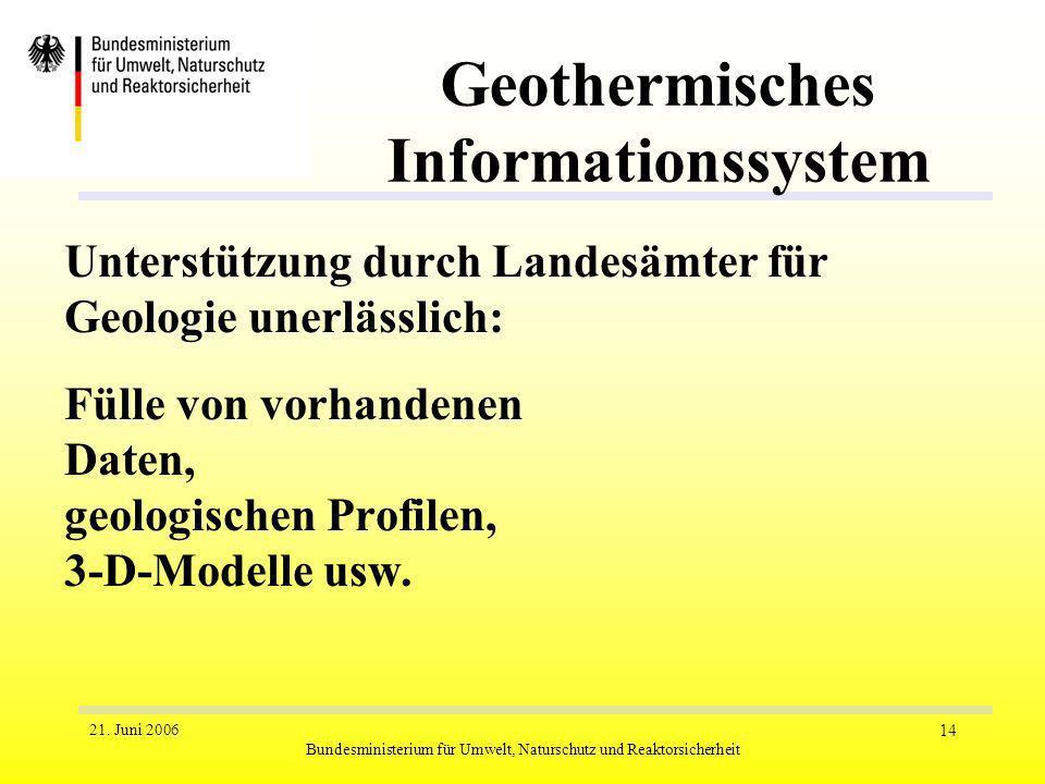 21. Juni 2006 Bundesministerium für Umwelt, Naturschutz und Reaktorsicherheit 14 Geothermisches Informationssystem Unterstützung durch Landesämter für