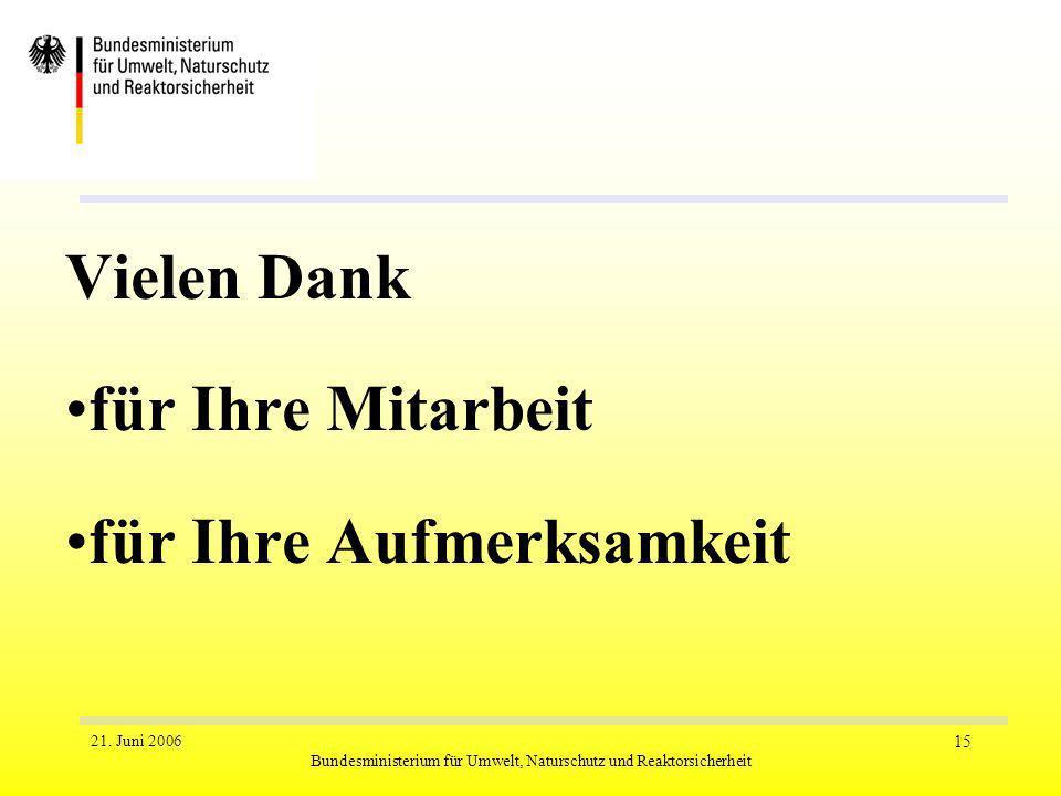 21. Juni 2006 Bundesministerium für Umwelt, Naturschutz und Reaktorsicherheit 15 Vielen Dank für Ihre Mitarbeit für Ihre Aufmerksamkeit