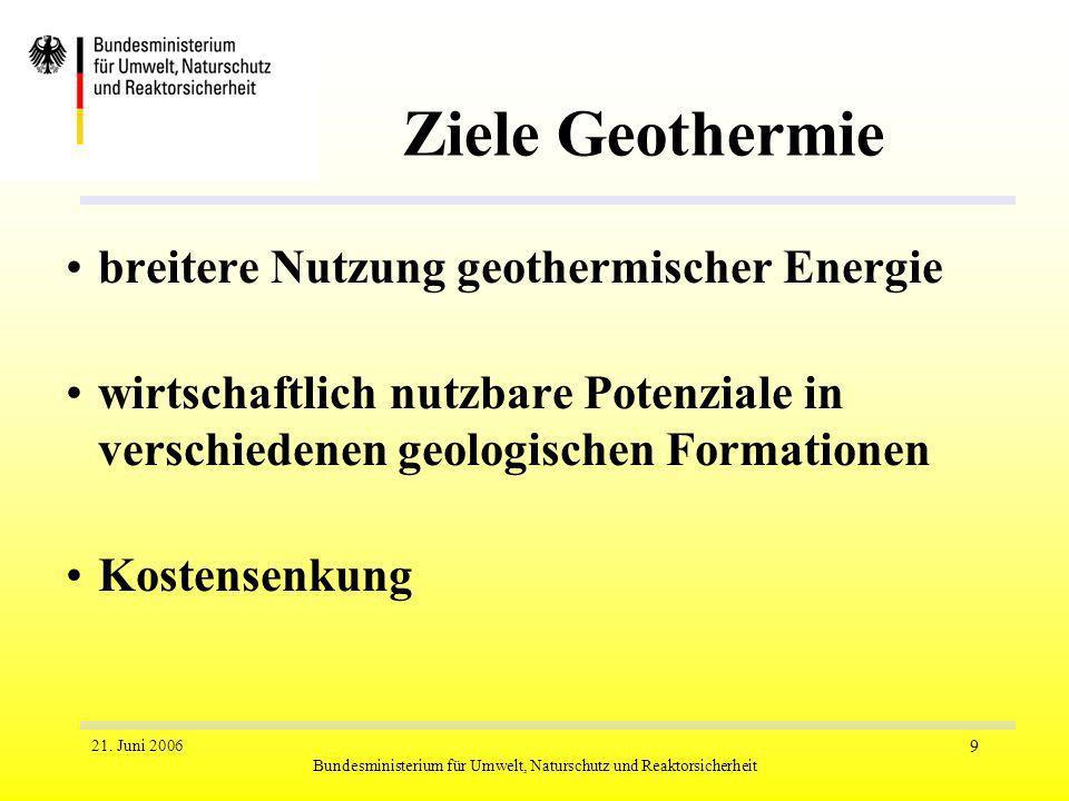 21. Juni 2006 Bundesministerium für Umwelt, Naturschutz und Reaktorsicherheit 9 Ziele Geothermie breitere Nutzung geothermischer Energie wirtschaftlic