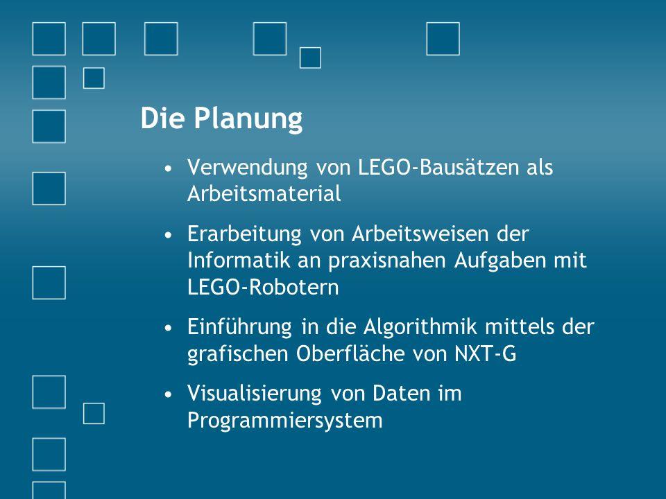 Die Planung Verwendung von LEGO-Bausätzen als Arbeitsmaterial Erarbeitung von Arbeitsweisen der Informatik an praxisnahen Aufgaben mit LEGO-Robotern Einführung in die Algorithmik mittels der grafischen Oberfläche von NXT-G Visualisierung von Daten im Programmiersystem