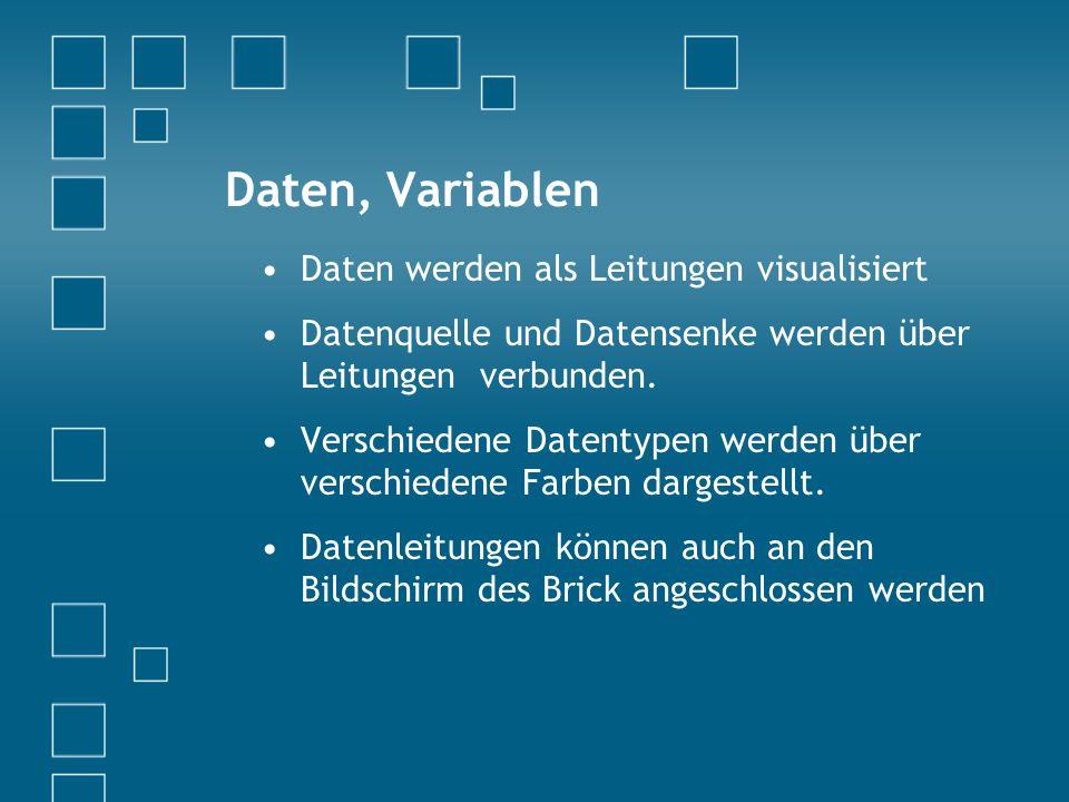 Daten, Variablen Daten werden als Leitungen visualisiert Datenquelle und Datensenke werden über Leitungen verbunden.