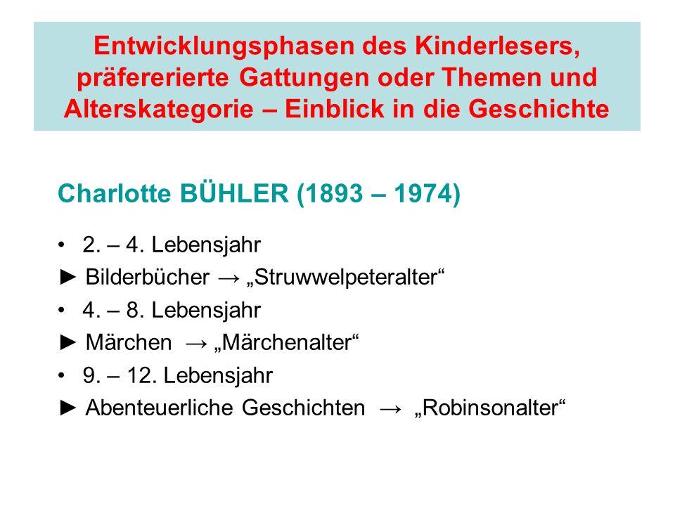Entwicklungsphasen des Kinderlesers, präfererierte Gattungen oder Themen und Alterskategorie – Einblick in die Geschichte Charlotte BÜHLER (1893 – 197