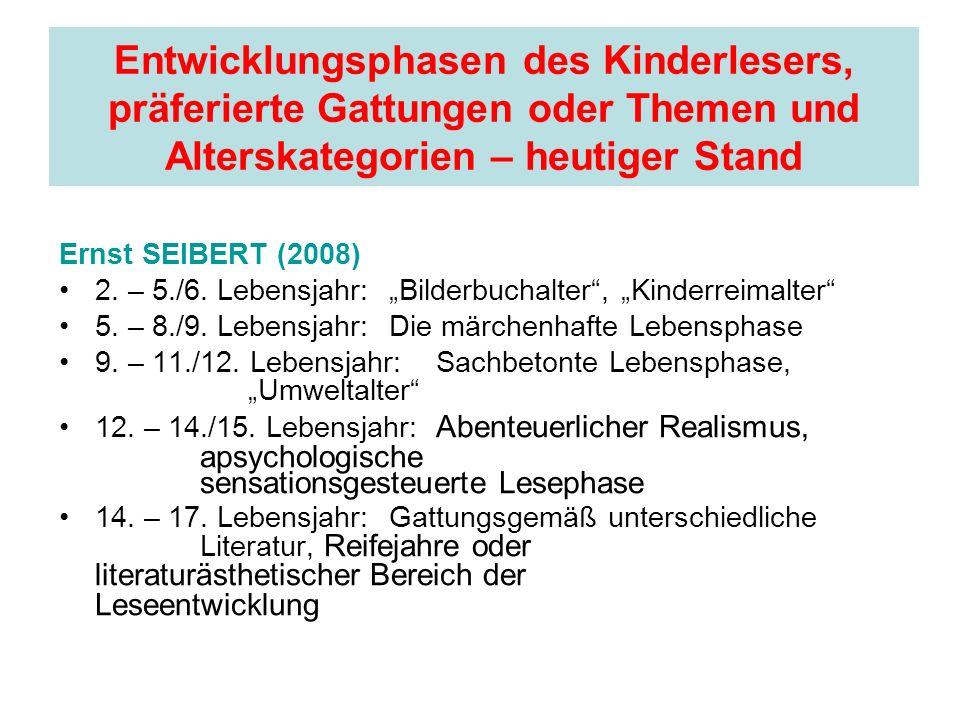 Entwicklungsphasen des Kinderlesers, präferierte Gattungen oder Themen und Alterskategorien – heutiger Stand Ernst SEIBERT (2008) 2. – 5./6. Lebensjah
