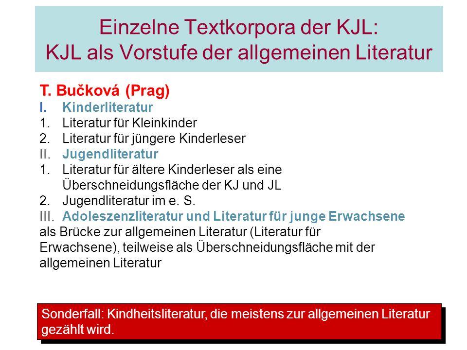 Einzelne Textkorpora der KJL: KJL als Vorstufe der allgemeinen Literatur T. Bučková (Prag) I.Kinderliteratur 1.Literatur für Kleinkinder 2.Literatur f
