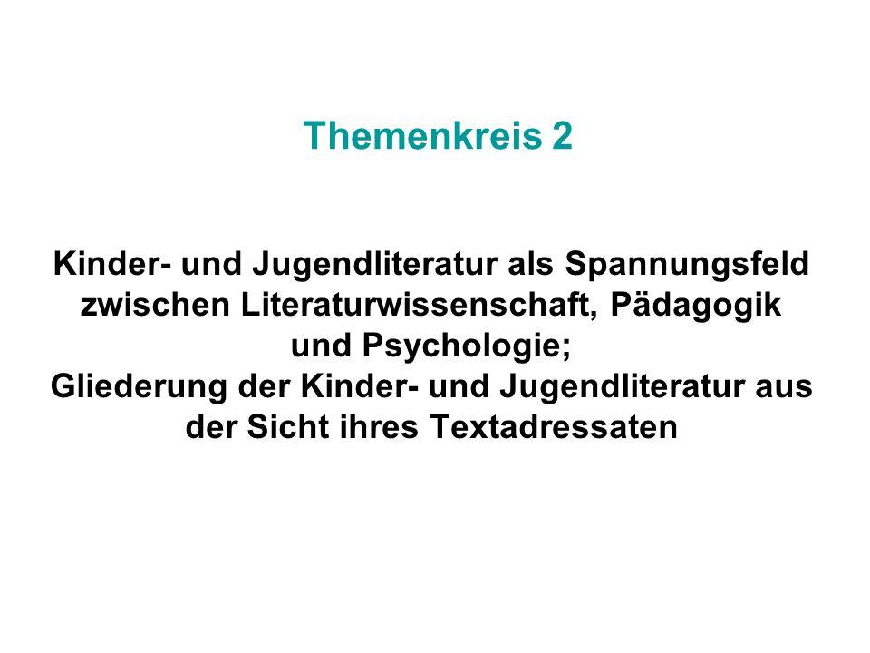 Kinder- und Jugendliteratur als Spannungsfeld zwischen Literaturwissenschaft, Pädagogik und Psychologie; Gliederung der Kinder- und Jugendliteratur au