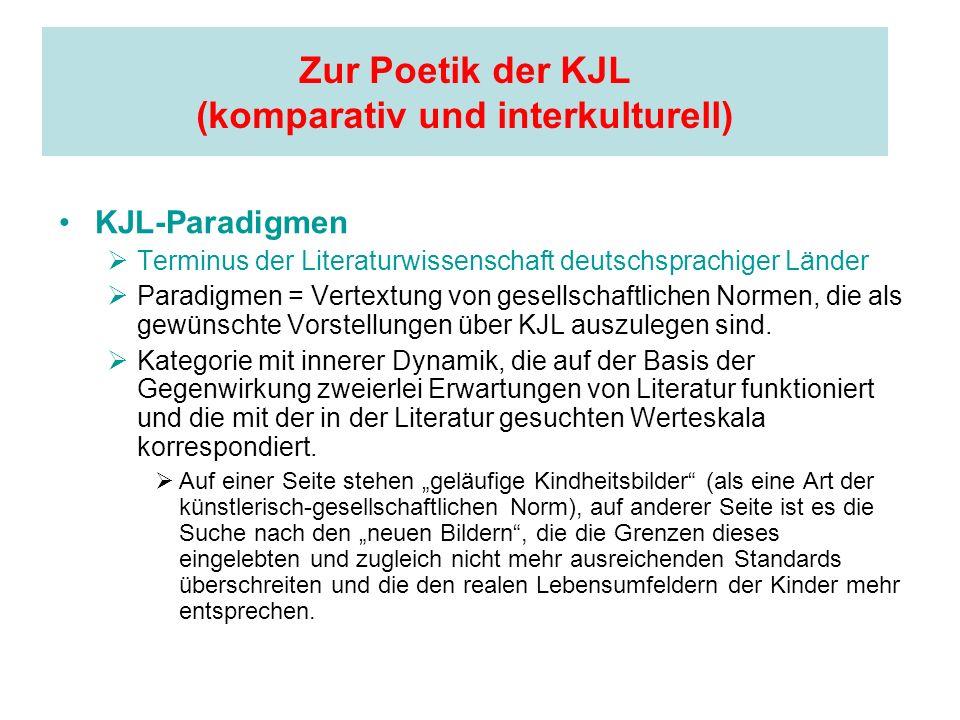 Zur Poetik der KJL (komparativ und interkulturell) KJL-Paradigmen Terminus der Literaturwissenschaft deutschsprachiger Länder Paradigmen = Vertextung