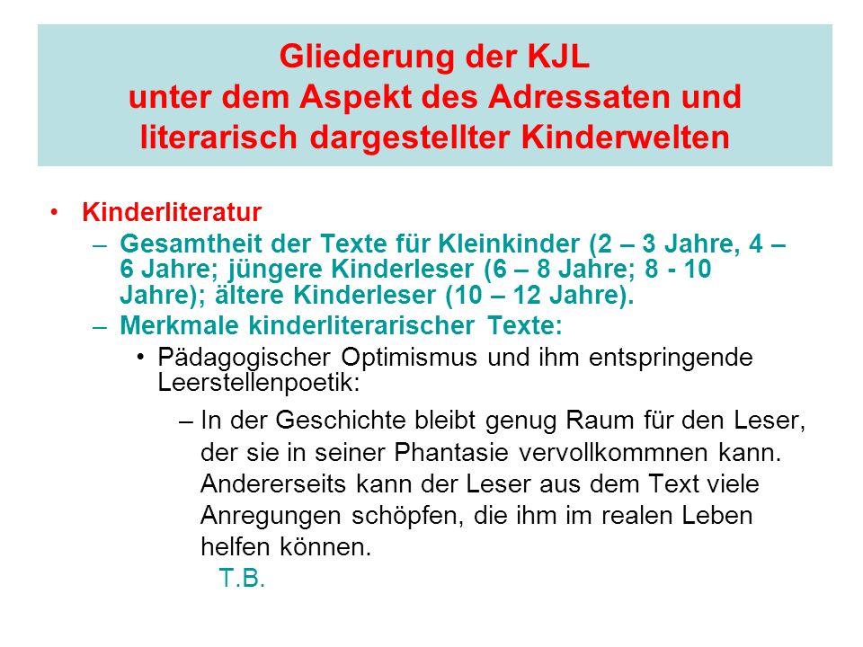 Gliederung der KJL unter dem Aspekt des Adressaten und literarisch dargestellter Kinderwelten Kinderliteratur –Gesamtheit der Texte für Kleinkinder (2