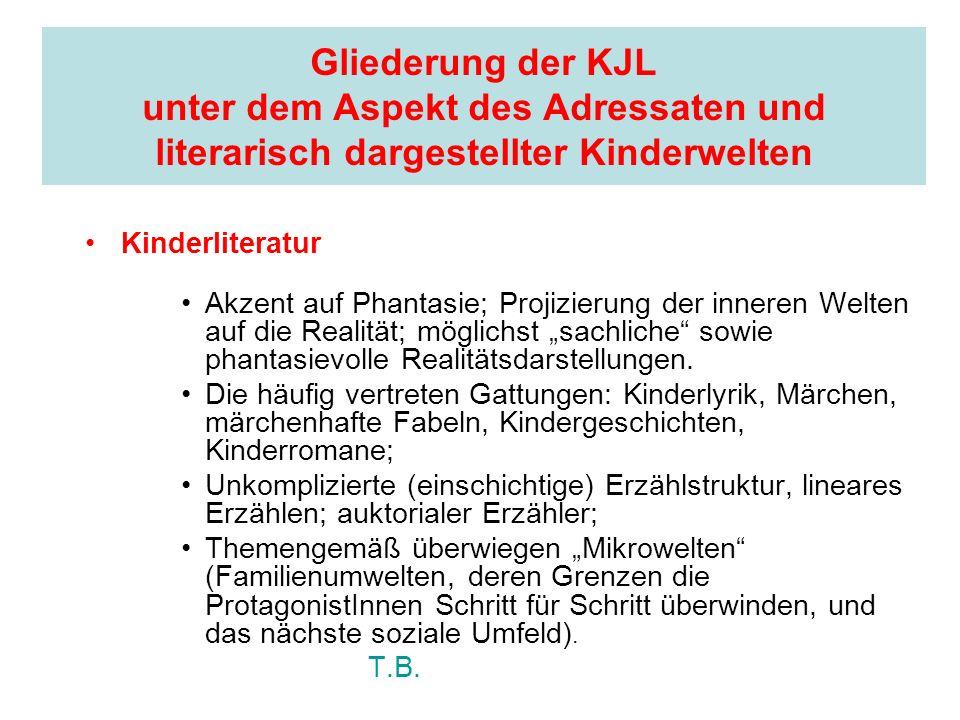 Gliederung der KJL unter dem Aspekt des Adressaten und literarisch dargestellter Kinderwelten Kinderliteratur Akzent auf Phantasie; Projizierung der i