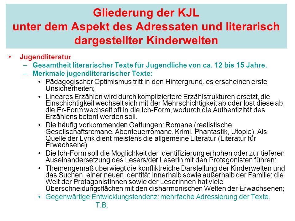 Gliederung der KJL unter dem Aspekt des Adressaten und literarisch dargestellter Kinderwelten Jugendliteratu r –Gesamtheit literarischer Texte für Jug