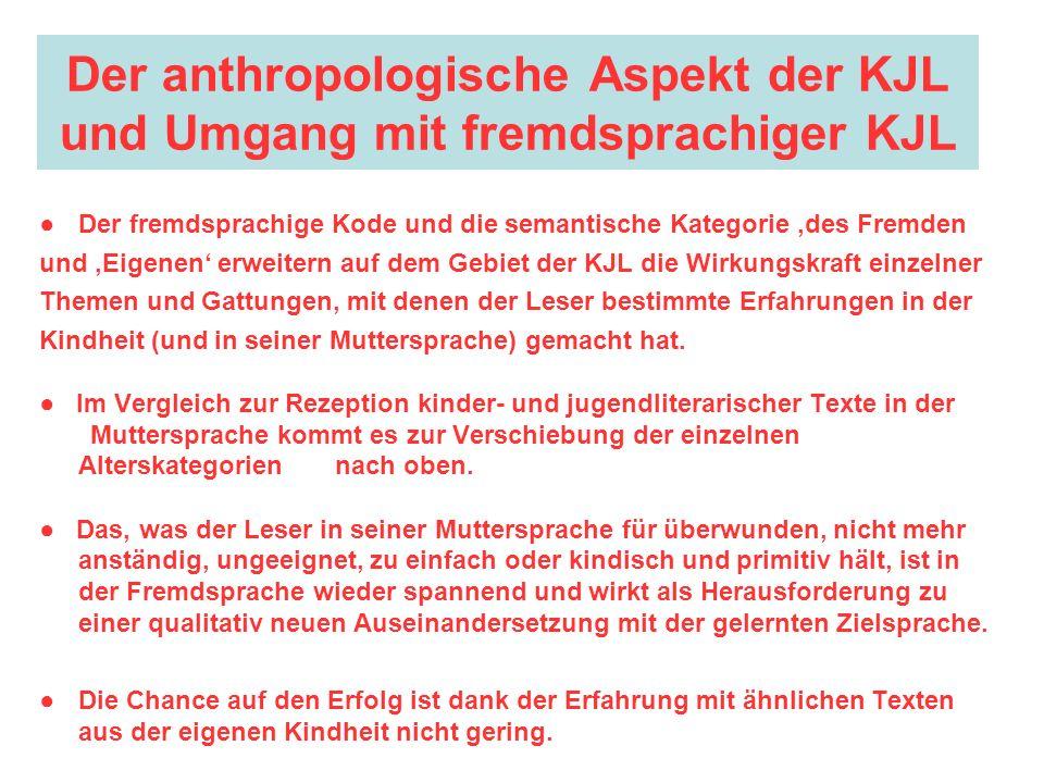 Der anthropologische Aspekt der KJL und Umgang mit fremdsprachiger KJL Der fremdsprachige Kode und die semantische Kategorie des Fremden und Eigenen e