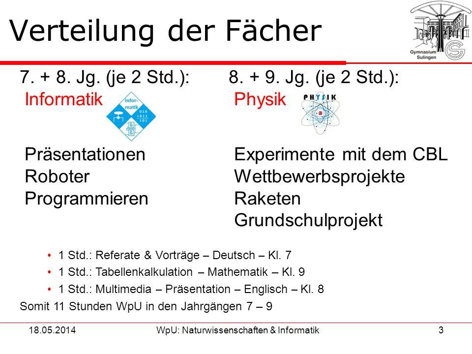 18.05.2014WpU: Naturwissenschaften & Informatik3 Verteilung der Fächer 7. + 8. Jg. (je 2 Std.): 8. + 9. Jg. (je 2 Std.): Informatik Physik Präsentatio