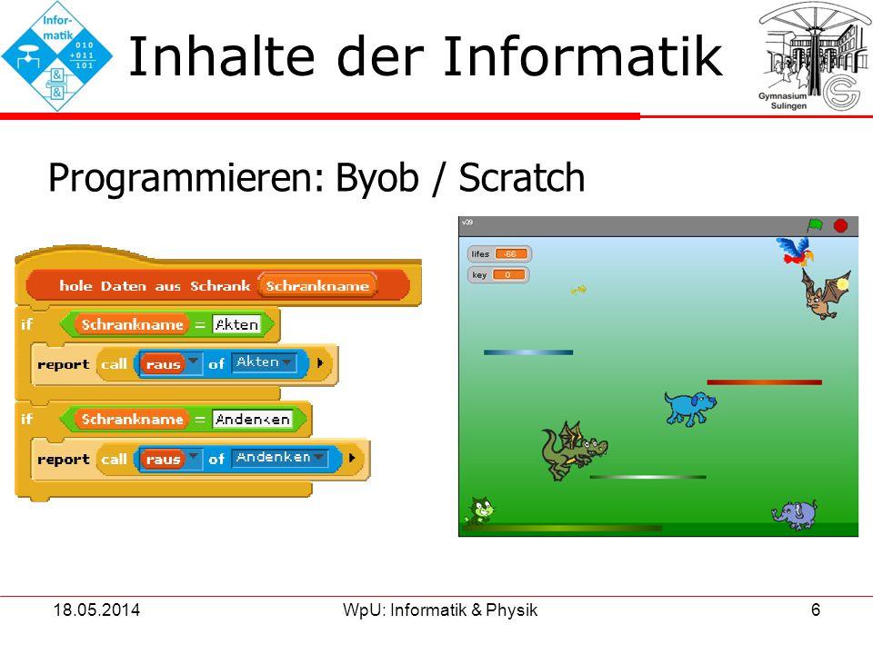 18.05.2014WpU: Informatik & Physik7 Inhalte der Informatik