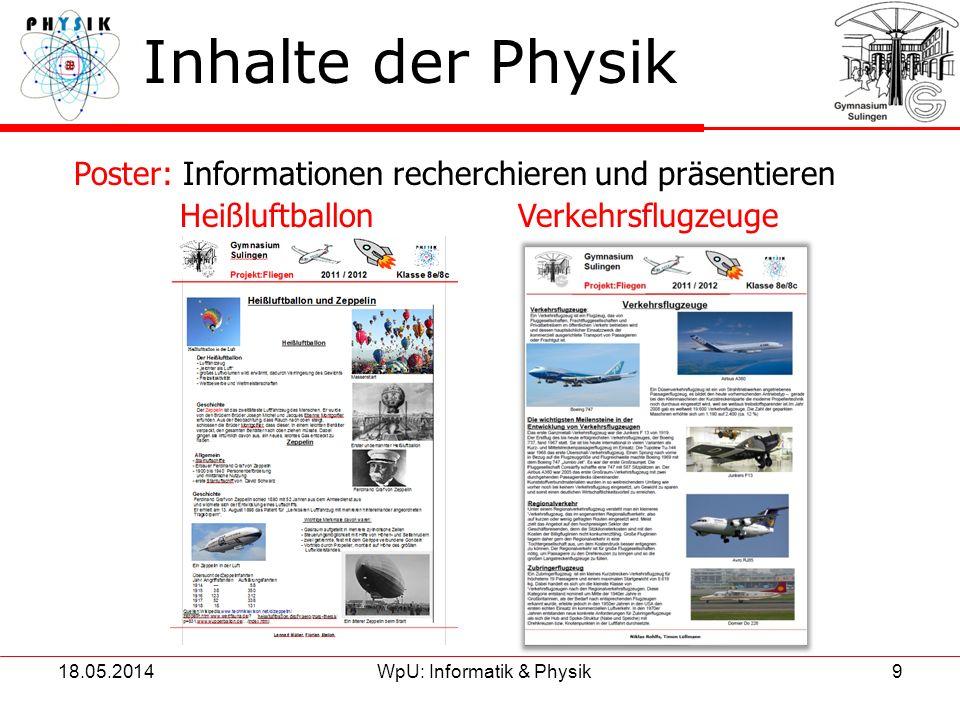 18.05.2014WpU: Informatik & Physik9 Inhalte der Physik Poster: Informationen recherchieren und präsentieren Heißluftballon Verkehrsflugzeuge