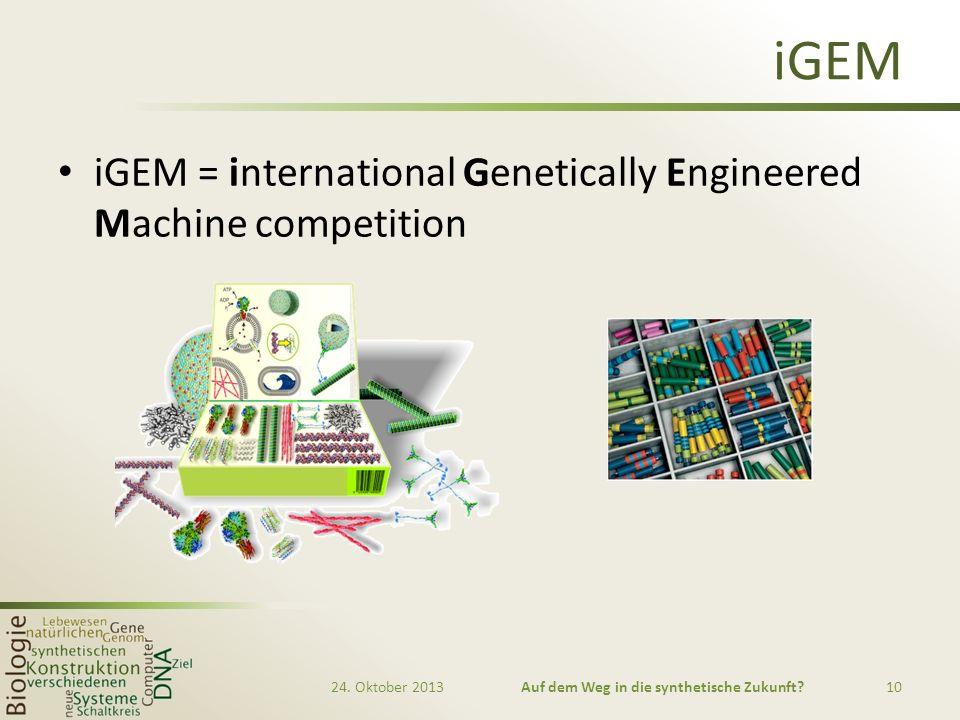 iGEM iGEM = international Genetically Engineered Machine competition 24. Oktober 2013Auf dem Weg in die synthetische Zukunft?10