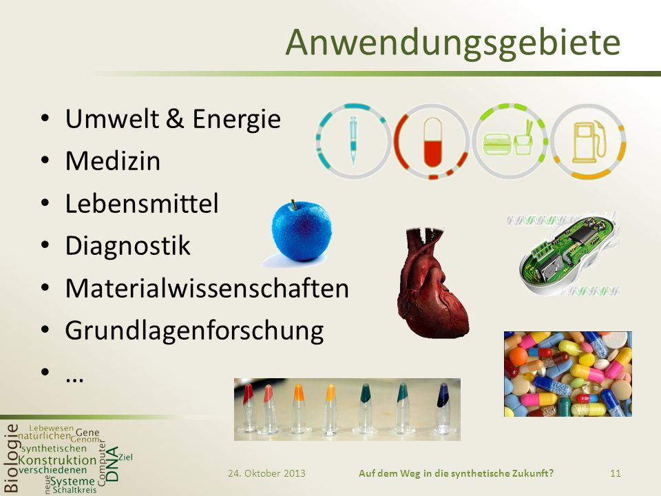 Anwendungsgebiete Umwelt & Energie Medizin Lebensmittel Diagnostik Materialwissenschaften Grundlagenforschung … 24. Oktober 2013Auf dem Weg in die syn
