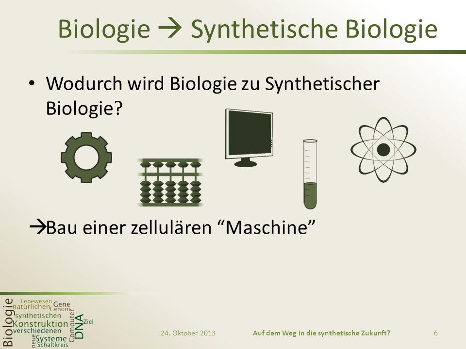 Biologie Synthetische Biologie Wodurch wird Biologie zu Synthetischer Biologie? Bau einer zellulären Maschine 24. Oktober 2013Auf dem Weg in die synth