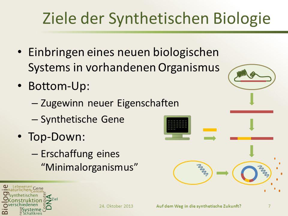 Ziele der Synthetischen Biologie Einbringen eines neuen biologischen Systems in vorhandenen Organismus Bottom-Up: – Zugewinn neuer Eigenschaften – Syn