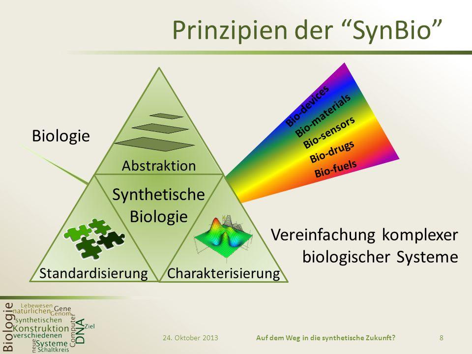 Prinzipien der SynBio Vereinfachung komplexer biologischer Systeme 24. Oktober 2013Auf dem Weg in die synthetische Zukunft?8 Biologie Abstraktion Stan