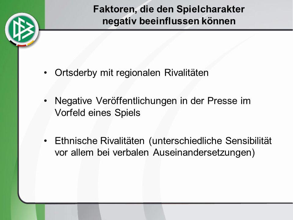 Faktoren, die den Spielcharakter negativ beeinflussen können Ortsderby mit regionalen Rivalitäten Negative Veröffentlichungen in der Presse im Vorfeld