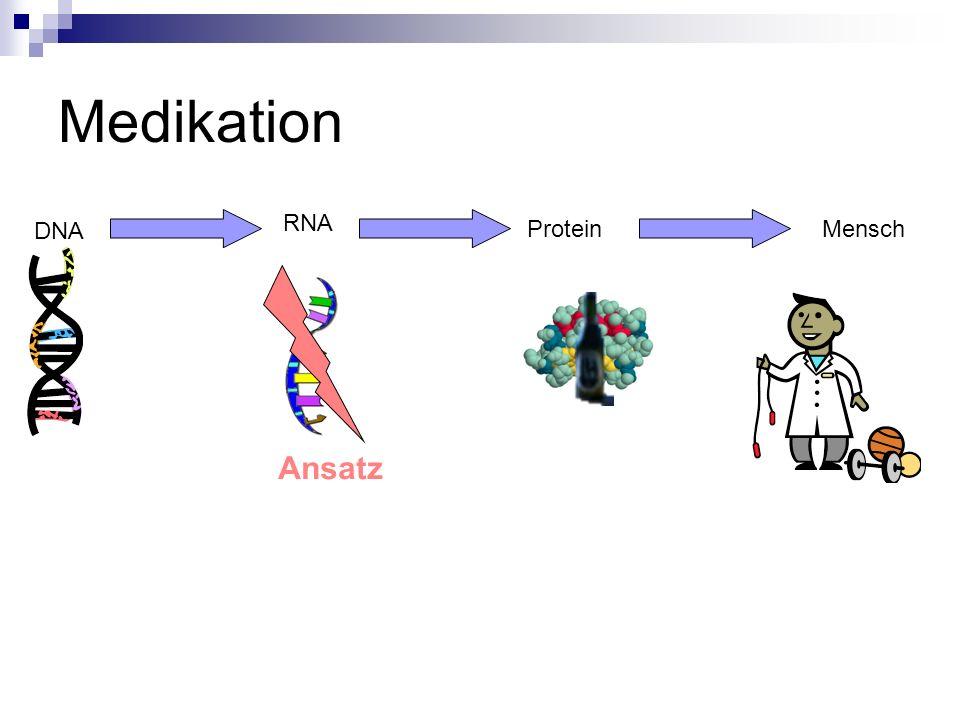 Medikation DNA RNA ProteinMensch Ansatz