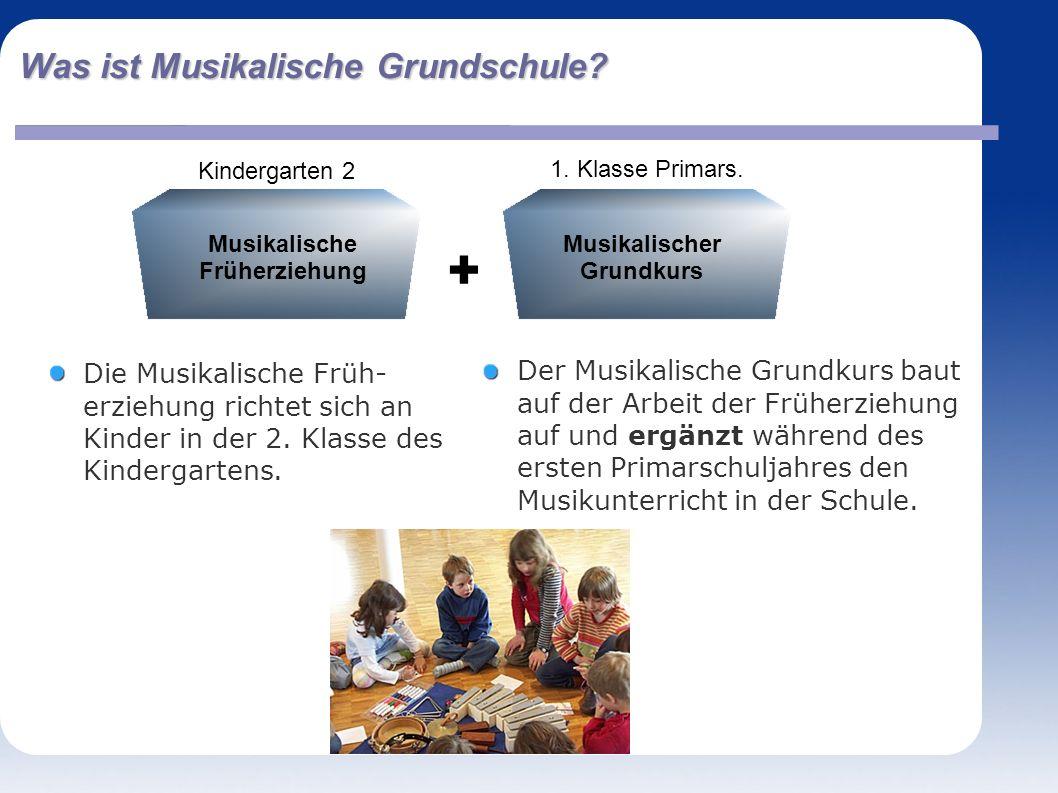 Was ist Musikalische Grundschule. Die Musikalische Früh- erziehung richtet sich an Kinder in der 2.