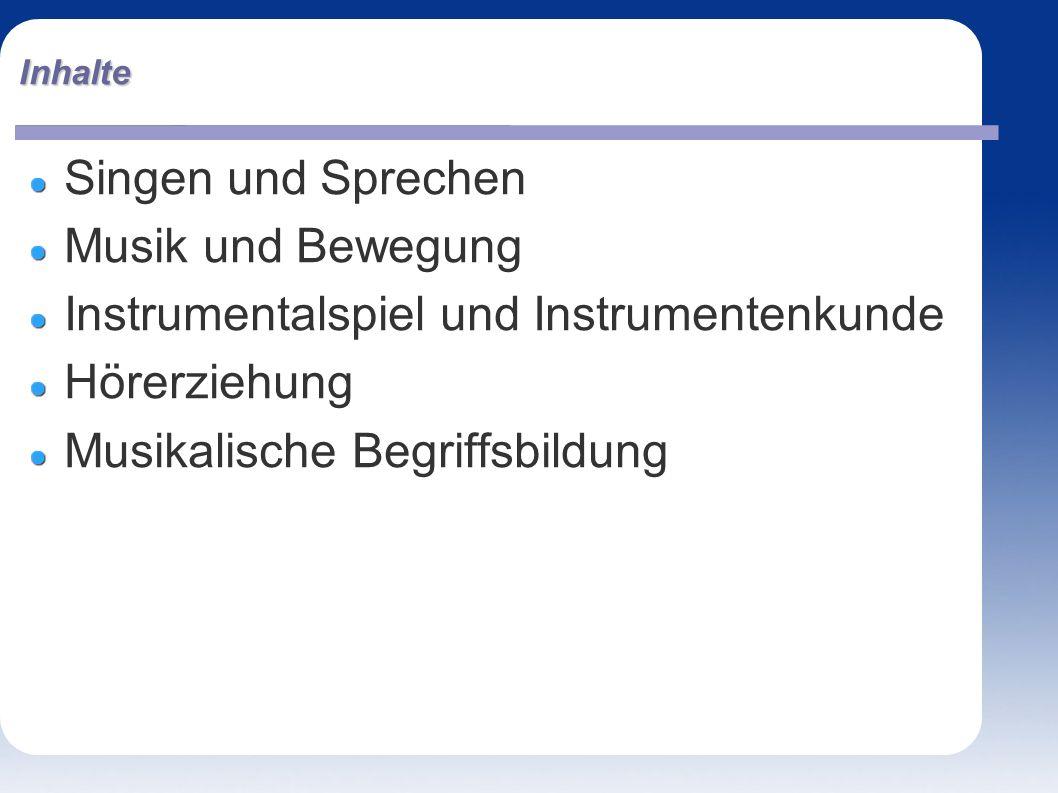 Inhalte Singen und Sprechen Musik und Bewegung Instrumentalspiel und Instrumentenkunde Hörerziehung Musikalische Begriffsbildung