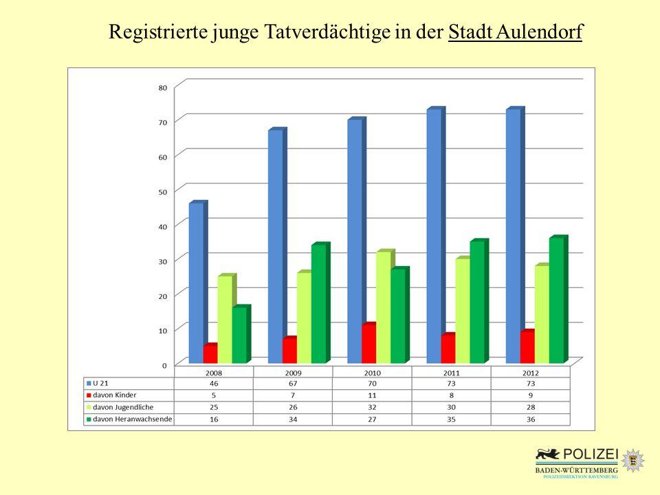 Registrierte junge Tatverdächtige in der Stadt Aulendorf