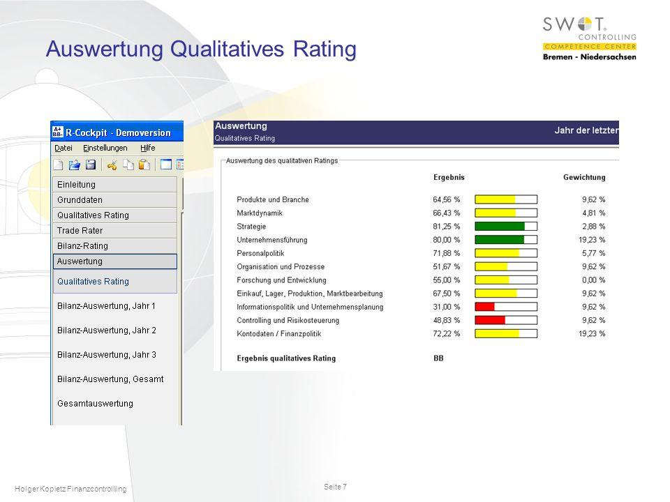 Seite 7 Holger Kopietz Finanzcontrolliing Auswertung Qualitatives Rating