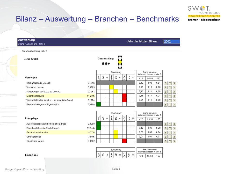 Seite 8 Holger Kopietz Finanzcontrolliing Bilanz – Auswertung – Branchen – Benchmarks