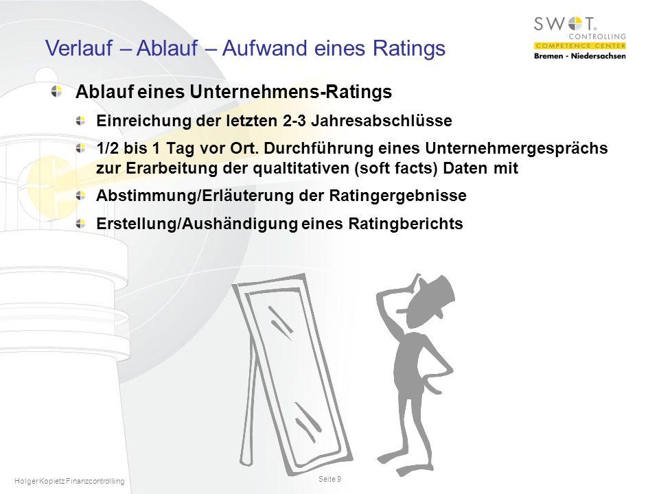 Seite 9 Holger Kopietz Finanzcontrolliing Ablauf eines Unternehmens-Ratings Einreichung der letzten 2-3 Jahresabschlüsse 1/2 bis 1 Tag vor Ort.