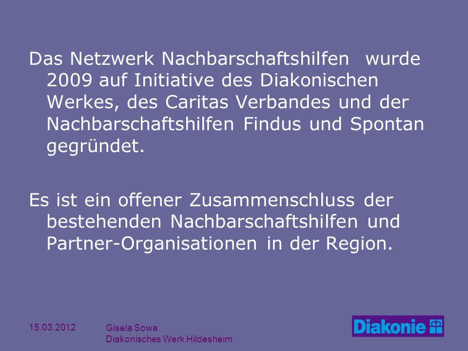 15.03.2012 Gisela Sowa Diakonisches Werk Hildesheim Das Netzwerk Nachbarschaftshilfen wurde 2009 auf Initiative des Diakonischen Werkes, des Caritas V