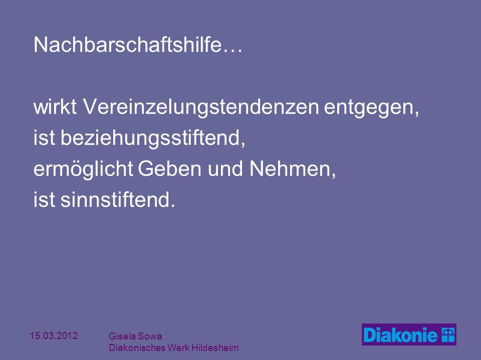 15.03.2012 Gisela Sowa Diakonisches Werk Hildesheim Nachbarschaftshilfe… wirkt Vereinzelungstendenzen entgegen, ist beziehungsstiftend, ermöglicht Geb