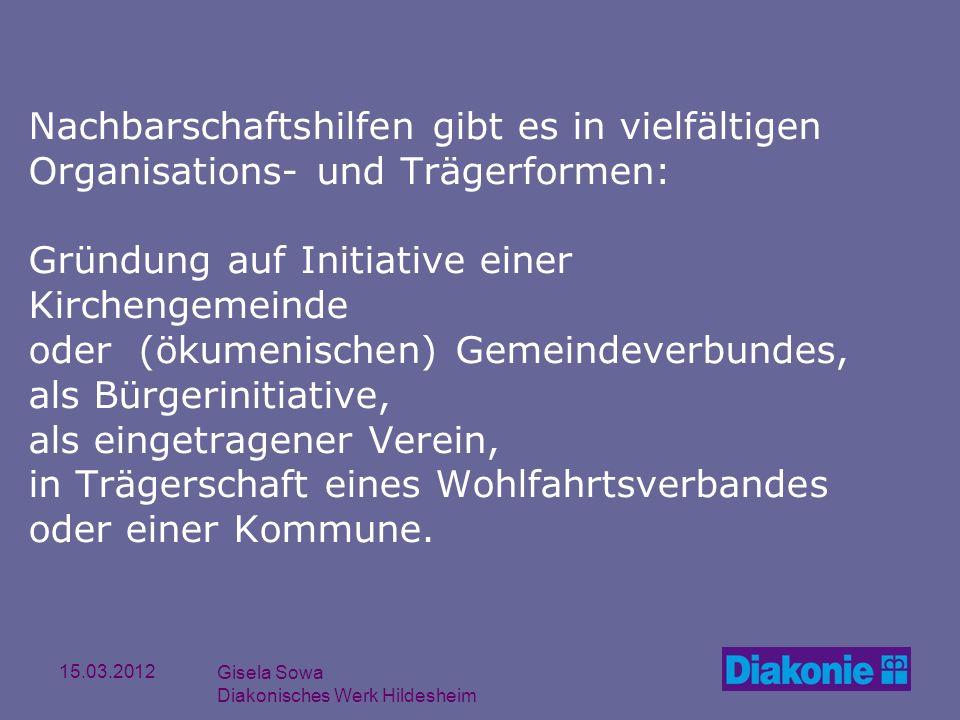15.03.2012 Gisela Sowa Diakonisches Werk Hildesheim Nachbarschaftshilfen gibt es in vielfältigen Organisations- und Trägerformen: Gründung auf Initiat