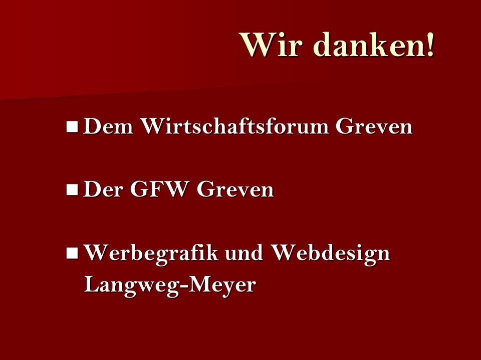 Dem Wirtschaftsforum Greven Dem Wirtschaftsforum Greven Der GFW Greven Der GFW Greven Werbegrafik und Webdesign Werbegrafik und Webdesign Langweg-Meye