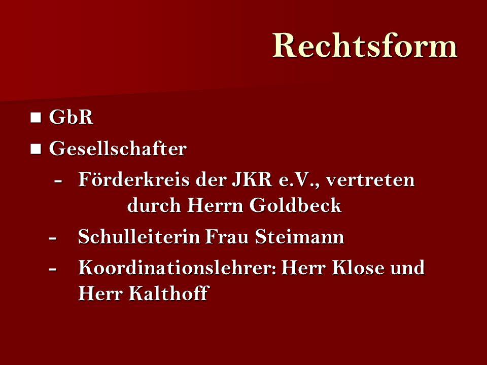 Rechtsform GbR GbR Gesellschafter Gesellschafter -Förderkreis der JKR e.V., vertreten durch Herrn Goldbeck -Förderkreis der JKR e.V., vertreten durch