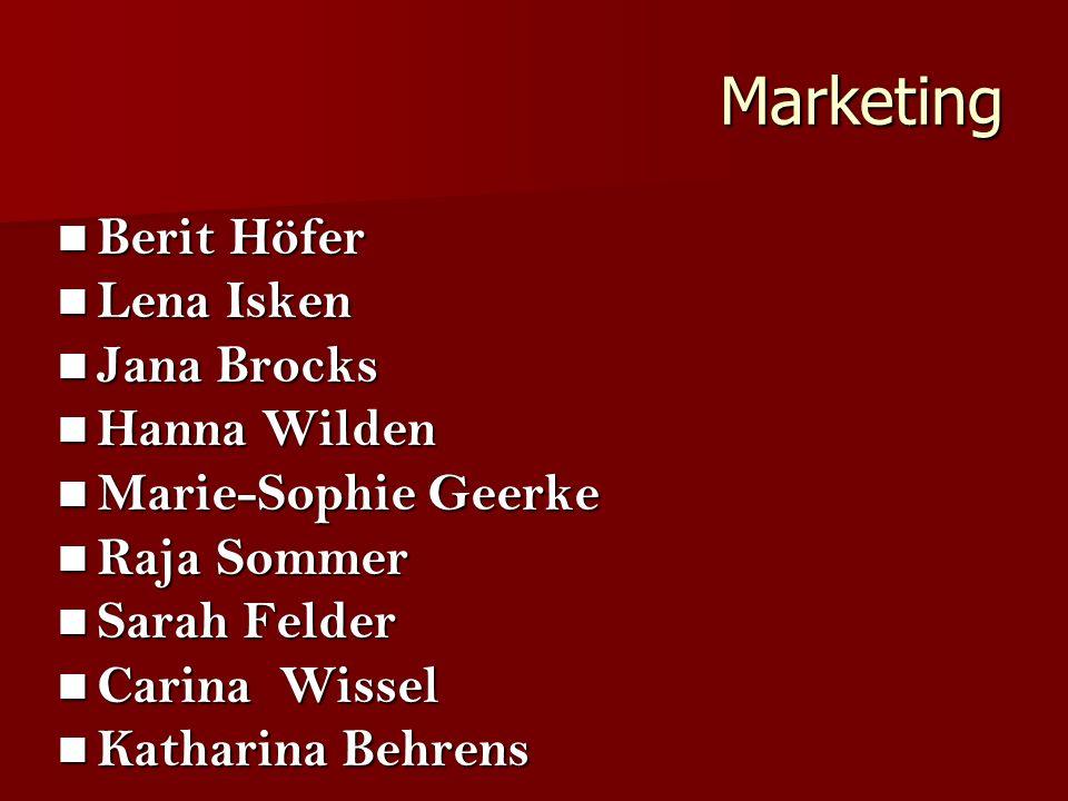 Marketing Berit Höfer Lena Isken Jana Brocks Hanna Wilden Marie-Sophie Geerke Raja Sommer Sarah Felder Carina Wissel Katharina Behrens