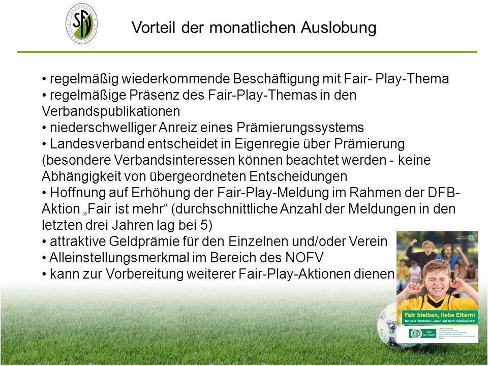 Vorteil der monatlichen Auslobung regelmäßig wiederkommende Beschäftigung mit Fair- Play-Thema regelmäßige Präsenz des Fair-Play-Themas in den Verband