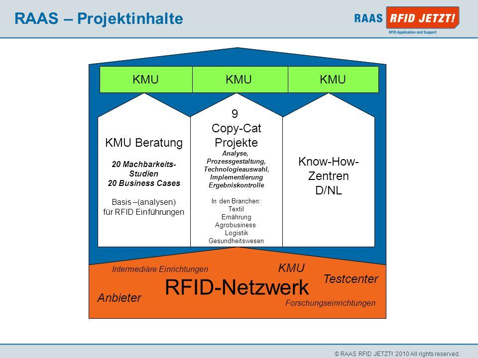 © RAAS RFID JETZT! 2010 All rights reserved. KMU RFID-Netzwerk KMU Beratung 20 Machbarkeits- Studien 20 Business Cases Basis –(analysen) für RFID Einf