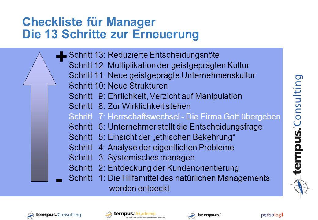 Checkliste für Manager Die 13 Schritte zur Erneuerung Schritt 13: Reduzierte Entscheidungsnöte Schritt 12: Multiplikation der geistgeprägten Kultur Sc