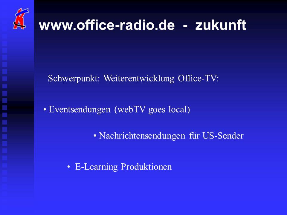 www.office-radio.de - zukunft Schwerpunkt: Weiterentwicklung Office-TV: Eventsendungen (webTV goes local) Nachrichtensendungen für US-Sender E-Learning Produktionen